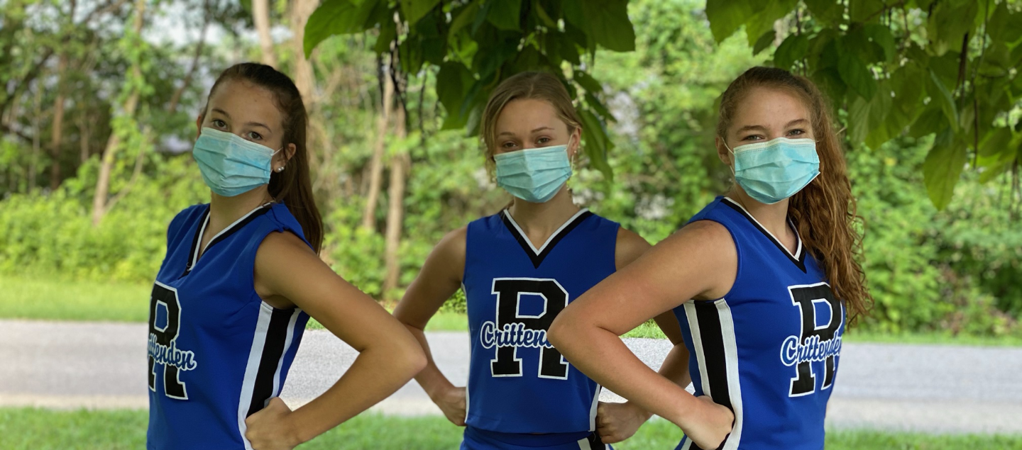 sports students with masks